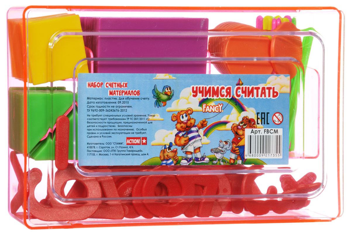 Fancy Касса счетных материалов Учимся считать цвет розовыйC32195_розовыйКасса счетных материалов Fancy Учимся считать - обучающее и развивающее пособие для детей от 3 до 8 лет. В состав кассы входят геометрические фигуры, цифры, арифметические знаки и счетные палочки. Все составляющие имеют яркие цвета и безопасные закругленные углы. Касса упакована в удобную для хранения пластиковую коробку.