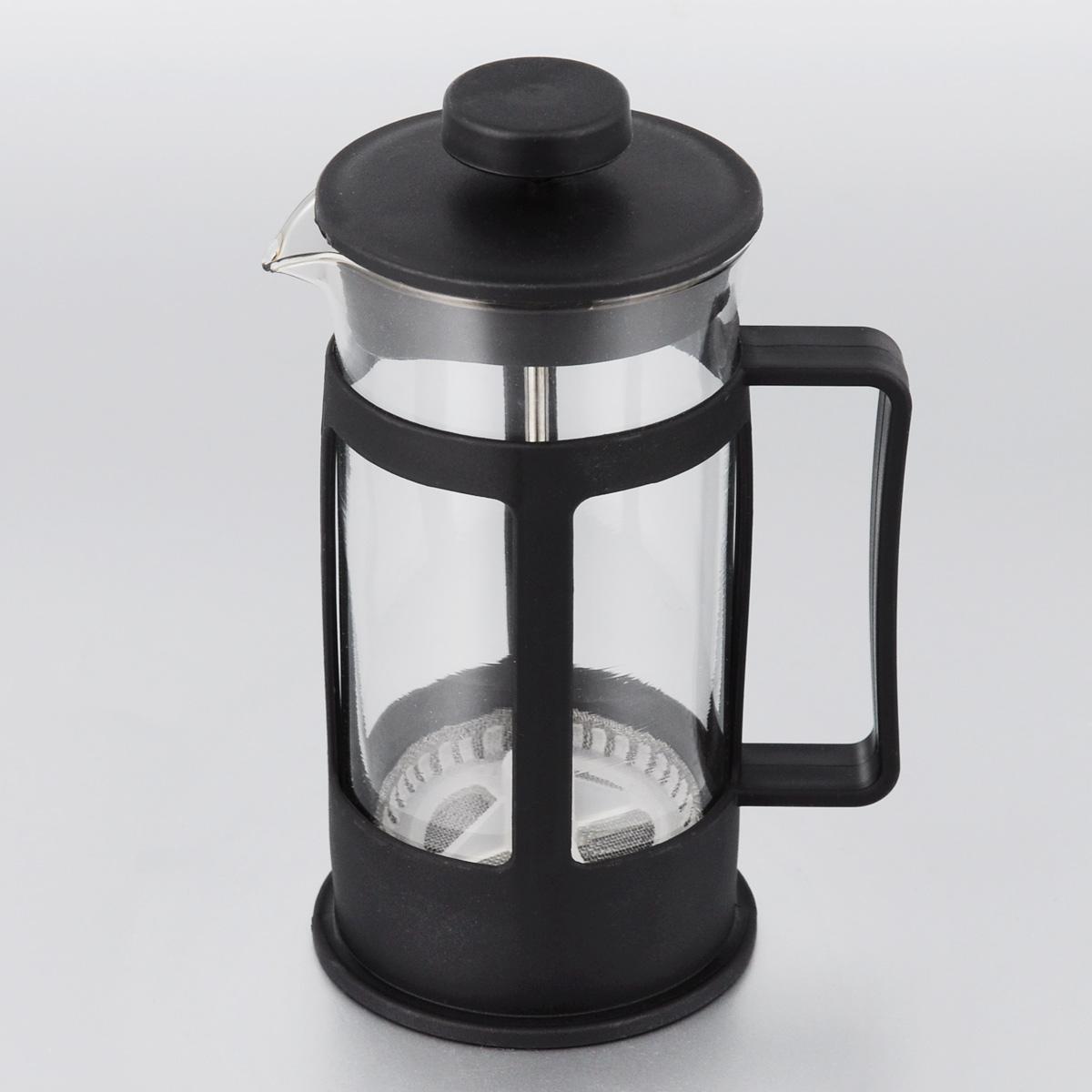 Френч-пресс МФК-профит, цвет: черный, 300 мл300BФренч-пресс МФК-профит поможет приготовить вкусный и ароматный чай или кофе. Корпус выполнен из высококачественного термостойкого пластика, а колба - из жаропрочного боросиликатного стекла. Чайник снабжен фильтром из метала с пластиковым элементом и удобной ручкой. Не рекомендуется использовать в посудомоечной машине и в микроволновой печи. Диаметр (по верхнему краю): 7 см. Высота чайника (без учета крышки): 14 см.