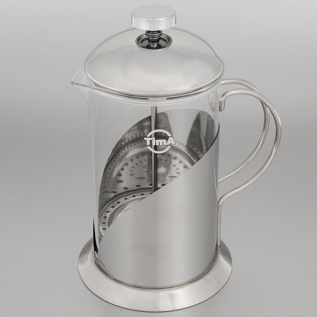 Френч-пресс TimA Тирамису, 800 млCM000001328Френч-пресс TimA Тирамису специально предназначен для приготовления кофе или чая методом настаивания и отжима. Преимуществ, которыми обладает френч-пресс перед обычным заварником, немало. Это удобство: засыпав чай под поршень и закрыв конструкцию крышкой, вы можете после заваривания разливать чай без использования дополнительных фильтров и других приспособлений. Кроме того, френч-пресс на столе смотрится очень элегантно - все участники чаепития смогут не только насладиться безупречным вкусом напитка, но и наблюдать процесс заваривания, раскрытия вкуса и цвета чая, высвобождения его аромата. Френч-пресс позволяет полностью извлечь полезные вещества из травяных чаев. Можно мыть в посудомоечной машине. Диаметр основания: 12 см. Диаметр (по верхнему краю): 10 см. Высота френч-пресса: 22 см.