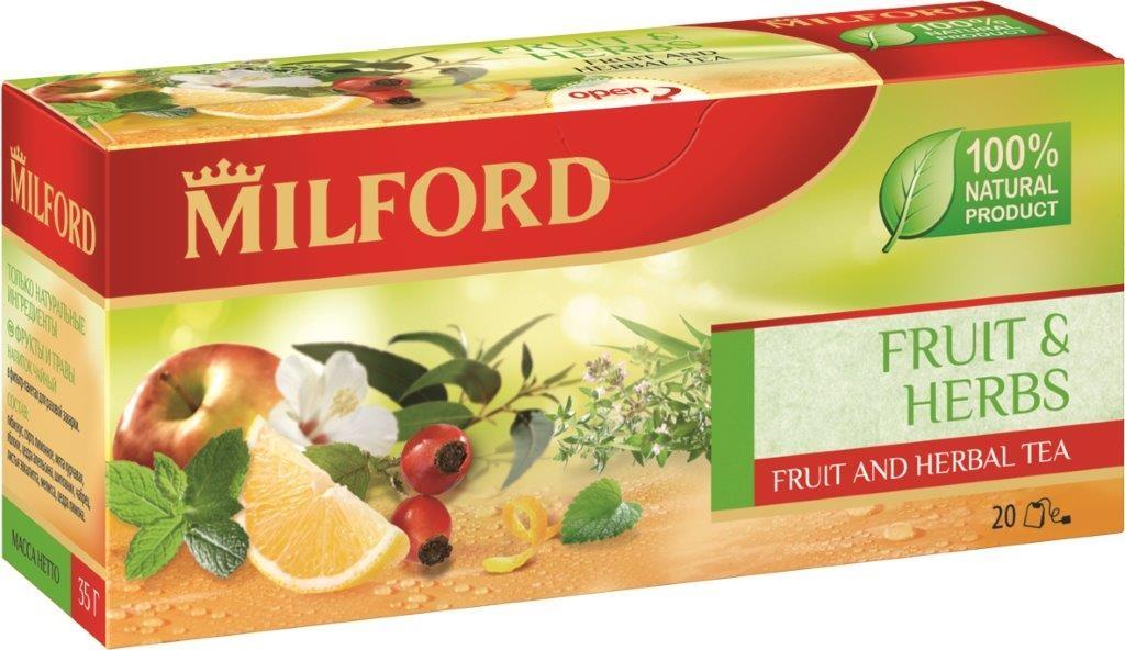 Milford Фрукты и травы фруктово-травяной чай в пакетиках, 20 штбая440рMilford Фрукты и травы сочетает сочное спелое яблоко, пряный чабрец, освежающую мяту, богатый витаминами шиповник - сколько вкуса и пользы в этом удивительном чае. Мелисса и мята подарят безмятежность, шиповник придаст силы, а гибискус и цитрусовые приятно освежат. Это не только вкусный, но и полезный напиток, который содержит только натуральные ингредиенты. Не содержит кофеин.