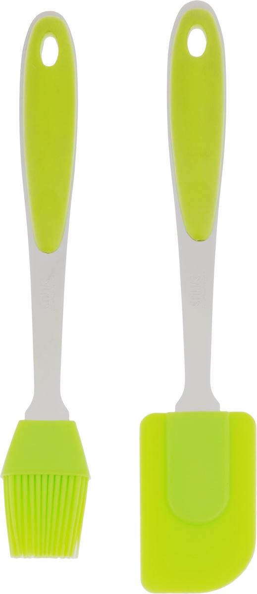 Набор кухонных принадлежностей Calve, цвет: салатовый, 2 предметаCL-1364_салатовыйНабор кухонных принадлежностей Calve состоит из лопатки и кисточки, выполненных из высококачественного силикона. Ручки лопатки и кисточки выполнены из нержавеющей стали и пластика. Изделия безопасны для посуды с антипригарным и керамическим покрытием. Набор кухонных принадлежностей Calve станет отличным дополнением к коллекции ваших кухонных аксессуаров. Размер рабочей поверхности лопатки: 8 х 5 х 1 см. Длина лопатки: 26,5 см. Длина ворса кисти: 3,5 см. Длина кисти: 25 см.