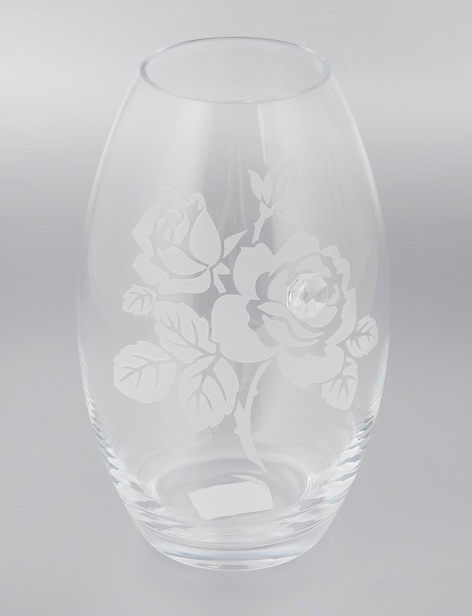 Ваза Deco Glass Роза, высота 23,5 смD04021/0232/X2475ALВаза Deco Glass Роза ручной работы, выполненная из прозрачного стекла, оформлена гравировкой в виде цветов и декорирована изящным кристаллом. Вазу можно использовать как декоративный элемент, поставить в нее букет прекрасных цветов или декоративных веточек. Нарядная и утонченная ваза Deco Glass Роза станет великолепным подарком на любой праздник. Диаметр вазы (по верхнему краю): 8,5 см. Высота вазы: 23,5 см.