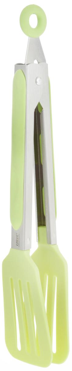 Щипцы сервировочные Calve, длина 23 см. CL-4640CL-4640_салатовыйСервировочные щипцы Calve, выполненные из нержавеющей стали и нейлона, оснащены специальным отверстием для подвешивания и снабжены резиновыми вставками для удобного и надежного хвата. Изделие безопасно для посуды с антипригарным покрытием. Такой кухонный аксессуар создаст комфорт не только вашим гостям, но и вам. Высококачественные материалы изделия способствуют длительному использованию. Можно мыть в посудомоечной машине. Длина щипцов (без учета петельки): 23 см.