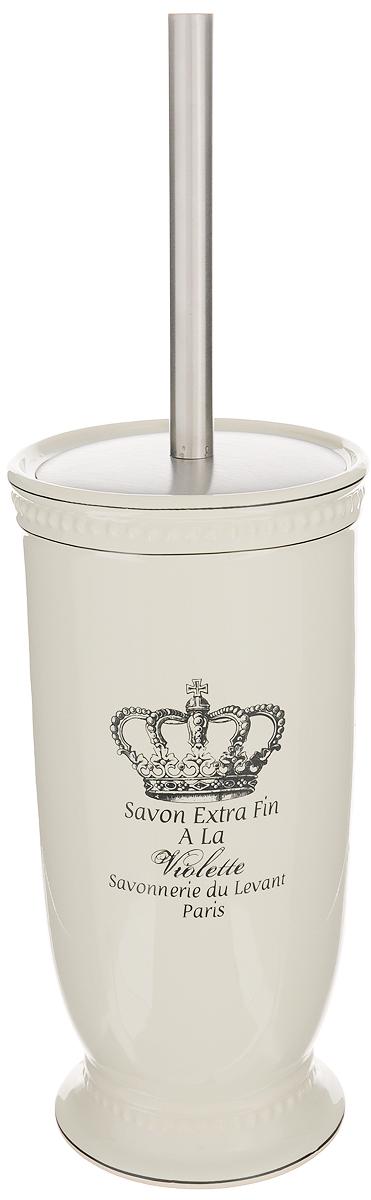 Ершик для унитаза Vanstore Корона106-029Ершик для унитаза Vanstore Корона выполнен из пластика с жестким ворсом и оснащен металлической откручивающейся ручкой. Он хранится в изысканной керамической подставке, покрытой слоем глазури. Подставка декорирована изображением короны и красивым ненавязчивым рельефом и больше напоминает вазу. Ершик отлично чистит поверхность, а грязь с него легко смывается водой.Ершик в стильной оригинальной подставке красиво дополнит интерьер ванной комнаты и создаст особую атмосферу уюта и комфорта. Длина ершика (с ручкой): 35 см. Длина ворса: 2,5 см.Размер подставки: 12 х 12 х 24 см.