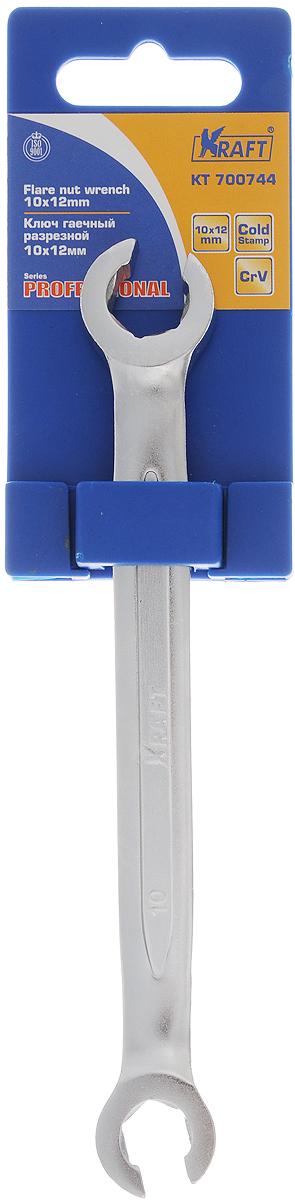 Ключ гаечный Kraft Professional, разрезной, двусторонний, 10 х 12 ммКТ 700744Гаечный прорезной ключ Kraft Professional выполнен из высококачественной хромованадиевой стали (CrV) методом холодного штампа. Предназначен для монтажа/демонтажа резьбовых соединений. Ключ оснащен с двух сторон накидным (прорезным) захватом открытого типа. Материал: хромованадиевая сталь.
