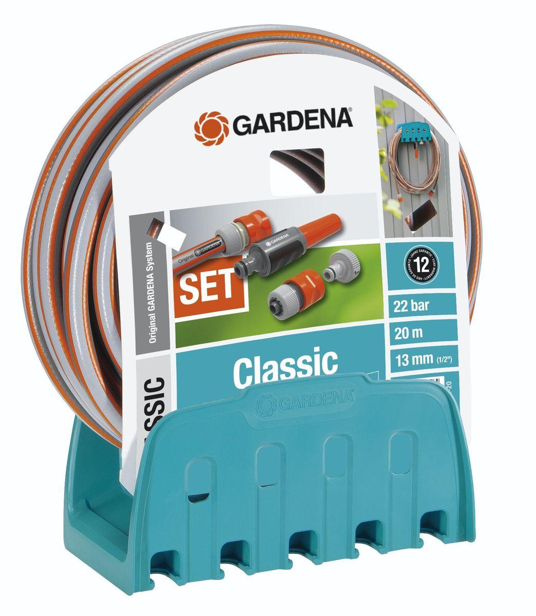 Кронштейн настенный Gardena Classic со шлангом18005-20.000.00Кронштейн настенный Gardena Classic со шлангом позволяет незамедлительно приступить к работе. В комплект входит настенный кронштейн, 20-метровый шланг 13 мм (1/2 ), все необходимые соединительные элементы и наконечник для полива. Шланг устойчив к воздействию давления воды и сохраняет свою форму (давление разрыва 22 бар). Этот шланг позволит поливать много и в течение длительного времени. На время хранения просто намотайте его на настенный кронштейн. На кронштейне расположены практичные крепления для насадок для полива, опрыскивателей, коннекторов. Максимальная емкость 13 мм (1/2) - 35 м; Максимальная емкость 15 мм (5/8) - 25 м; Максимальная емкость 19 мм (3/4) - 20 м; Длина шланга - 20 м; Диаметр шланга - 13 мм.