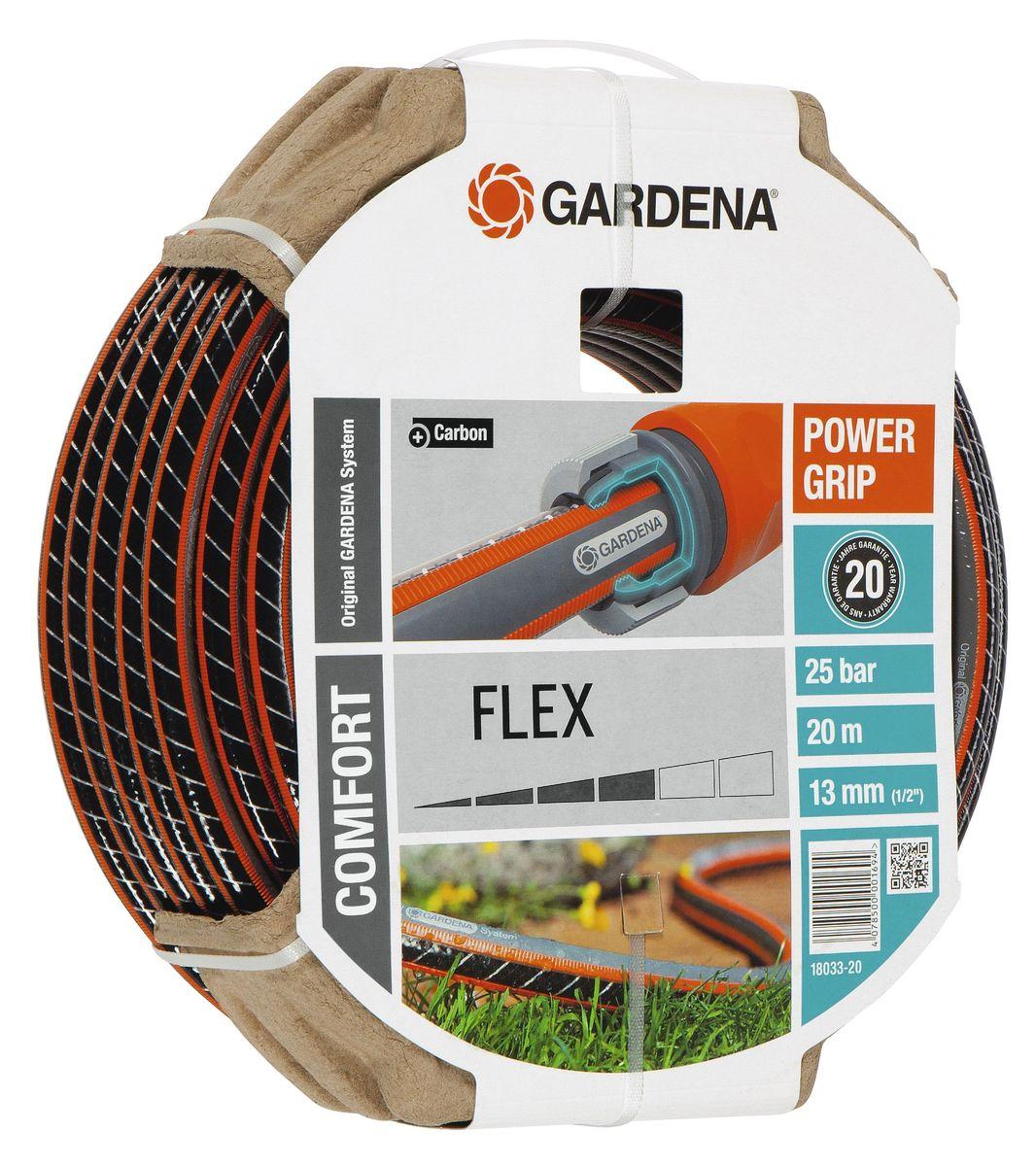 Шланг Gardena Flex, диаметр 1/2, длина 20 м96515412Шланг Gardena Flex с ребристым профилем Power Grip подходит для идеального соединения с коннекторами базовой системы полива. Устойчив к высокому давлению и сохраняет формы благодаря спиралевидному текстильному армированию, усиленному углеродом.Не перегибается, не спутывается.