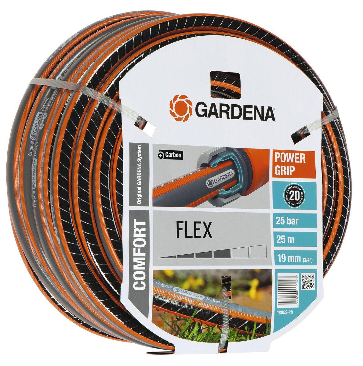 Шланг Flex 9x9 3/4 х 25 м Gardena18053-20.000.00С ребристым профилем Power Grip для идеального соединения с коннекторами Базовой системы полива. Устойчивость к высокому давлению и сохранение формы благодаря спиралевидному текстильному армированию, усиленному углеродом. Не перегибается, не спутывается.