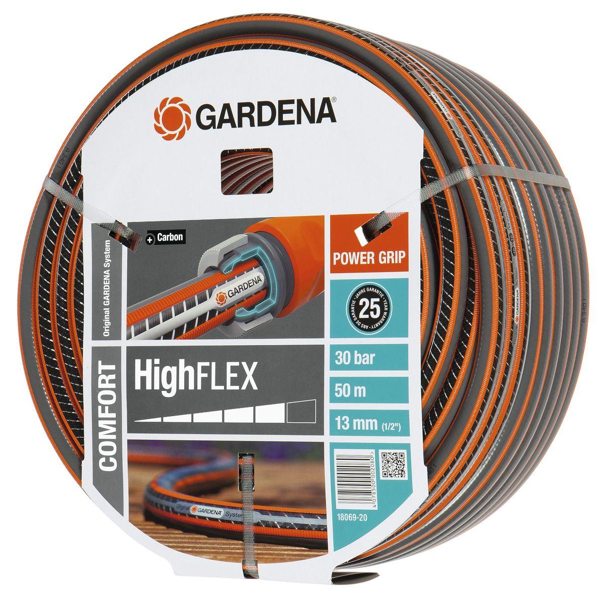 Шланг Highflex 10x10 1/2 х 50 м Gardena18069-20.000.00С ребристым профилем Power Grip для идеального соединения с коннекторами Базовой системы полива. Устойчивость к высокому давлению и сохранение формы благодаря спиралевидному текстильному армированию, усиленному углеродом. Не перегибается, не спутывается.