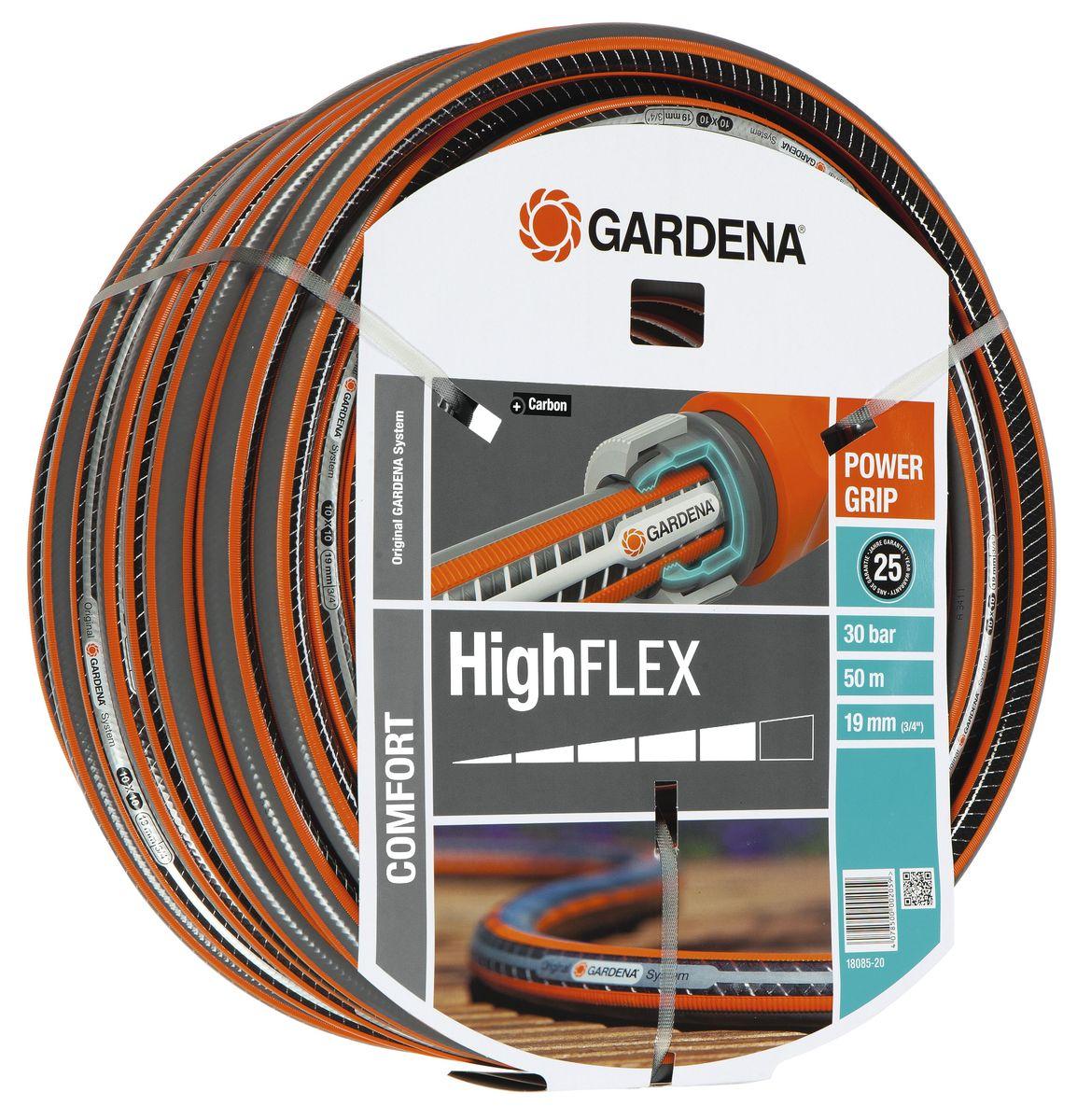 Шланг Highflex 10x10 3/4 х 50 м Gardena18085-20.000.00С ребристым профилем Power Grip для идеального соединения с коннекторами Базовой системы полива. Устойчивость к высокому давлению и сохранение формы благодаря спиралевидному текстильному армированию, усиленному углеродом. Не перегибается, не спутывается.