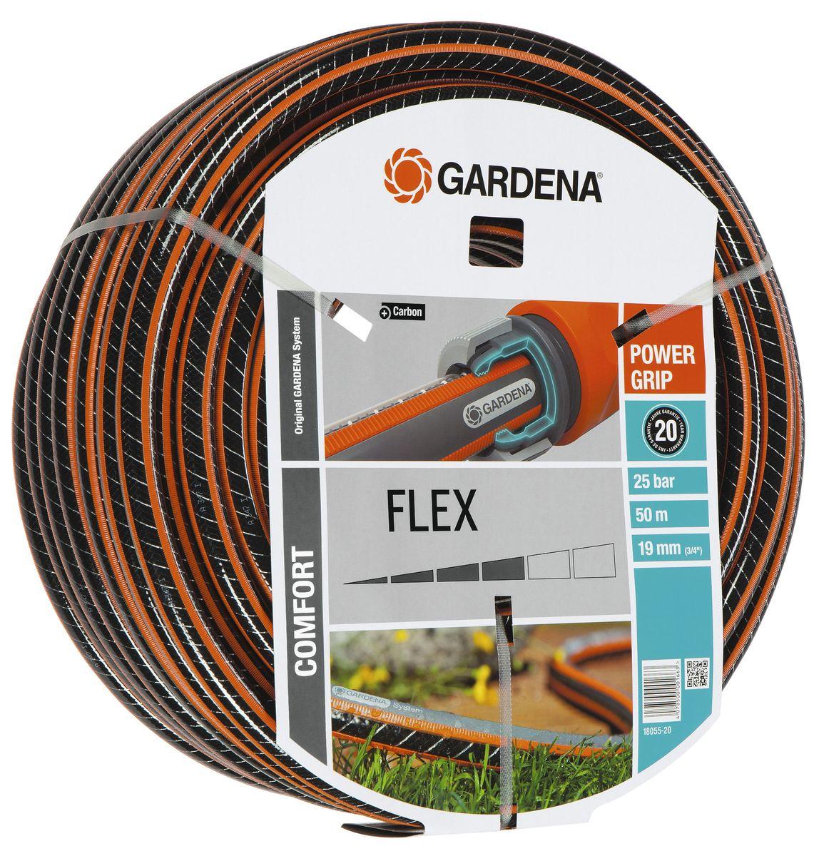 Шланг Flex 9x9 3/4 х 50 м Gardena18055-20.000.00С ребристым профилем Power Grip для идеального соединения с коннекторами Базовой системы полива. Устойчивость к высокому давлению и сохранение формы благодаря спиралевидному текстильному армированию, усиленному углеродом. Не перегибается, не спутывается.