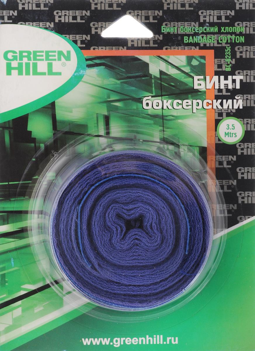 Бинт боксерский Green Hill, хлопок, цвет: синий, 3,5 мВС-6235-35Бинт Green Hill предназначен для защиты запястья во время занятий боксом. Изготовлен из высококачественного хлопка. Бинт надежно закрепляется на руке застежкой на липучке. Хорошо впитывает пот. Длина бинта: 3,5 м. Ширина бинта: 5 см.