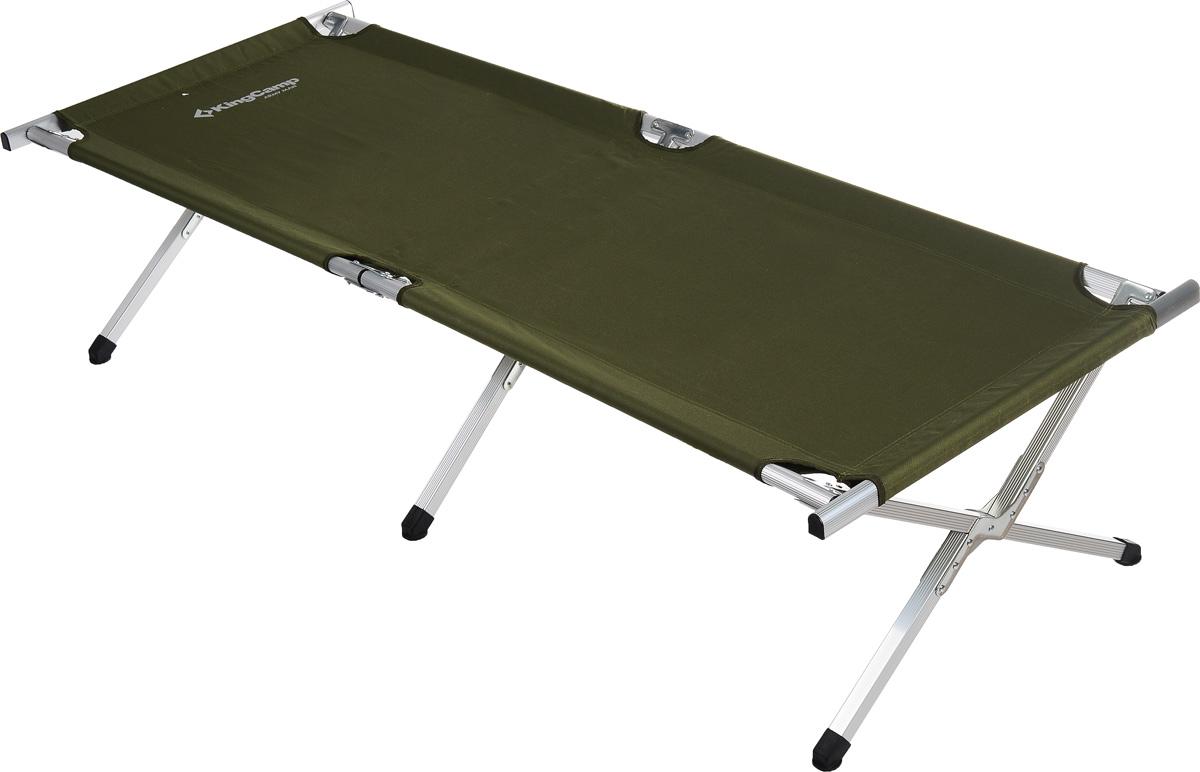 Кровать складная KingCamp Delux Army для кемпингаF183Складная кровать KingCamp Delux Army - это незаменимый предмет походной мебели, очень удобна в эксплуатации. Рама выполнена из алюминия, материал лежака - полиэстер. Кровать легко собирается и разбирается и не занимает много места, поэтому подходит для транспортировки и хранения дома. Кровать упакована в удобную сумку для переноски. Складная кровать прекрасно подойдет для комфортного отдыха на даче или в походе.Характеристики:Материал: алюминий, полиэстер 600x300D Oxford.Размер кровати: 190 см х 63 см х 42 см.Вес: 6 кг.Цвет: зеленый.Максимальная нагрузка:100 кг.Размер упаковки: 94 см х 18 см х 12 см.