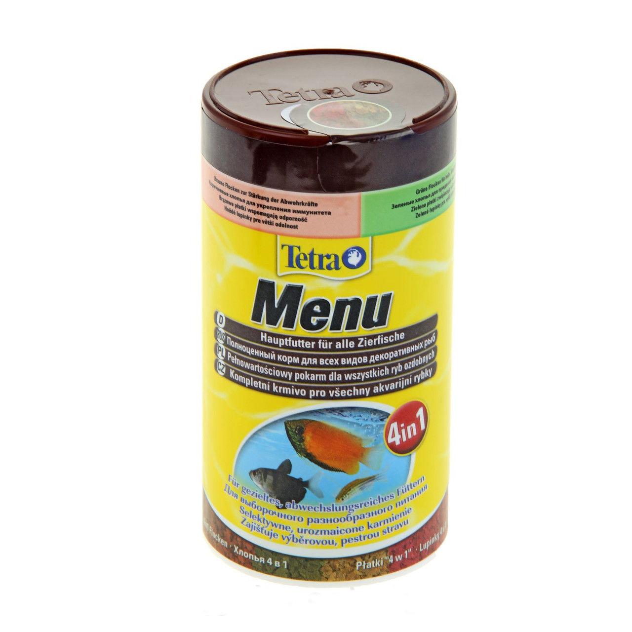 Корм Tetra Menu для всех видов декоративных рыб, 4 вида хлопьев, 250 мл (64 г)767393Корм Tetra Menu предназначен для всех видов декоративных рыб. Это полноценный корм для выборочного кормления, соответствующего потребности рыб. В одной упаковке содержится 4 вида хлопьев: - желтые хлопья с оптимальным соотношением протеинов и жиров для здорового роста, - красные хлопья с усилителями естественного цвета для улучшения окраски, - коричневые хлопья со специальным комплексом витаминов для укрепления иммунитета, - зеленые хлопья с необходимыми растительными питательными веществами для поддержки жизненных сил. Тщательно отобранные специальные хлопья с витаминами, минералами и микроэлементами для разнообразного и сбалансированного питания. Ежедневное кормление позволяет отрегулировать рост питомцев, обеспечить им жизнестойкость и плодовитость. Кормить рыбок нужно 2-3 раза ежедневно маленькими порциями. Состав: рыба и побочные рыбные продукты, зерновые культуры, дрожжи, экстракты растительного белка, моллюски и...
