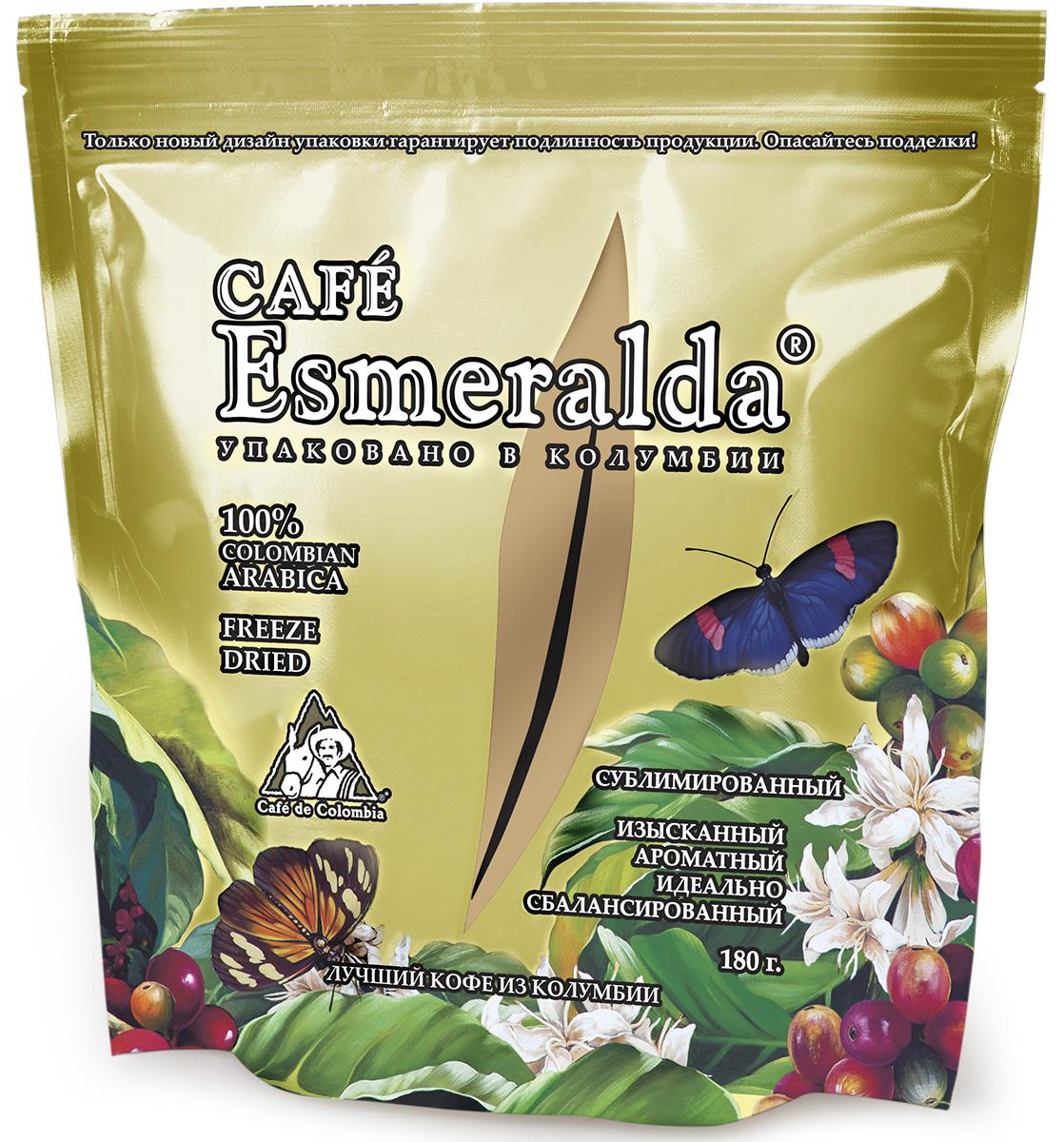 Cafe Esmeralda сублимированный кофе, 180 г (м/у)0120710Кофе Cafe Esmeralda произведен и упакован на самой современной в мире фабрике сублимированного кофе Liofilizado в Колумбии под строгим контролем Национальной Федерации производителей кофе Колумбии. Обработка по технологии Freeze Dried - быстрая заморозка в вакууме - сохраняет максимум вкуса и аромата, как у молотого кофе. Дополнительно кофейные кристаллы обрабатываются специальным кофейным маслом, что предотвращает их рассыпание. Кофе произведен из зерен 100% колумбийской арабики. Обладает особенно крепким вкусом и насыщенным ароматом.
