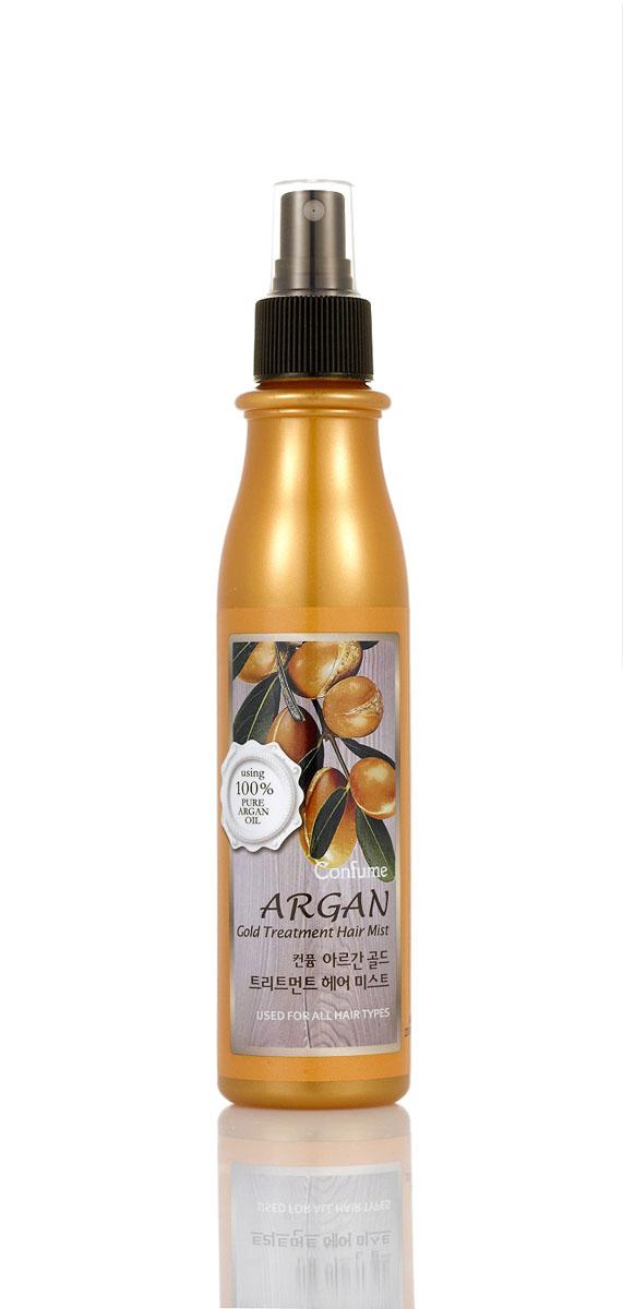 Confume Argan Увлажняющий спрей для волос аргановым маслом серии GOLD, 200 млFS-00897Спрей для волос содержит богатый растительный комплекс из ягод ассаи, плодов нони, мангустина, барбариса и облепихи, который интенсивно питает и поддерживает волосы в здоровом состоянии. Благодаря входящим в состав золотым частицам спрей способствуют здоровому блеску и сиянию волос, укрепляя их. Подходит для окрашенных волос.Спрей для волос содержит богатый растительный комплекс из ягод ассаи, плодов нони, мангустина, барбариса и облепихи, который интенсивно питает и поддерживает волосы в здоровом состоянии.