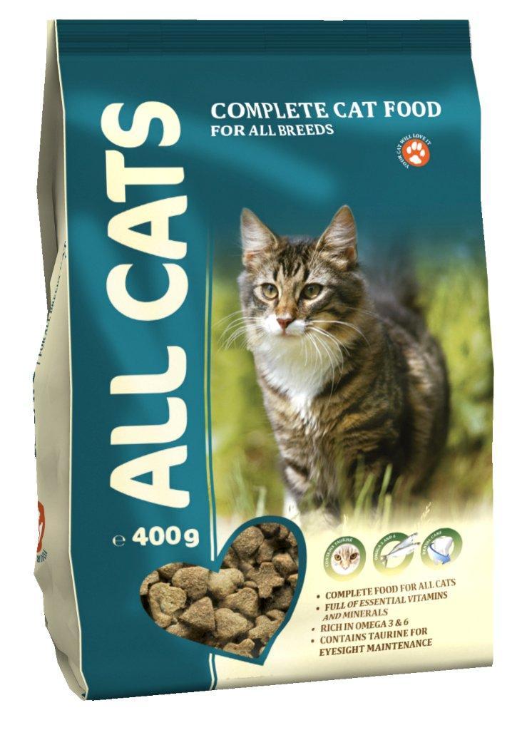 Корм сухой полнорационный для взрослых кошек ALL CATS 0,4 кг0120710Гарантируемые показатели.сырой протеин – 30 %сырой жир – 9 %сырая клетчатка – 3 %сырая зола – 7 %кальций – 1,3 %фосфор –1,0 %Энергетическая ценность- 340 ккал/100 г.Перечень компонентов, входящих в рецептуру.злаки, мясо и продукты животного происхождения, овощи, масла и жиры, рыба и рыбные субпродукты (источник Омега-3 и Омега-6 жирных кислот), минеральные вещества и витамины.
