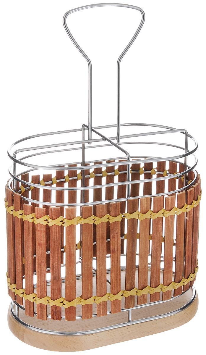 Подставка для столовых приборов Mayer & Boch, 15,8 х 10 х 25,5 см. 86358635Подставка для столовых приборов Mayer & Boch изготовлена из металла с деревянной плетеной отделкой. Изделие имеет 4 секции для хранения различных столовых приборов. Дно подставки сетчатое. Для удобной переноски подставка снабжена ручкой. Оригинальная и стильная подставка для столовых приборов отлично дополнит интерьер кухни и поможет аккуратно хранить ваши столовые приборы.