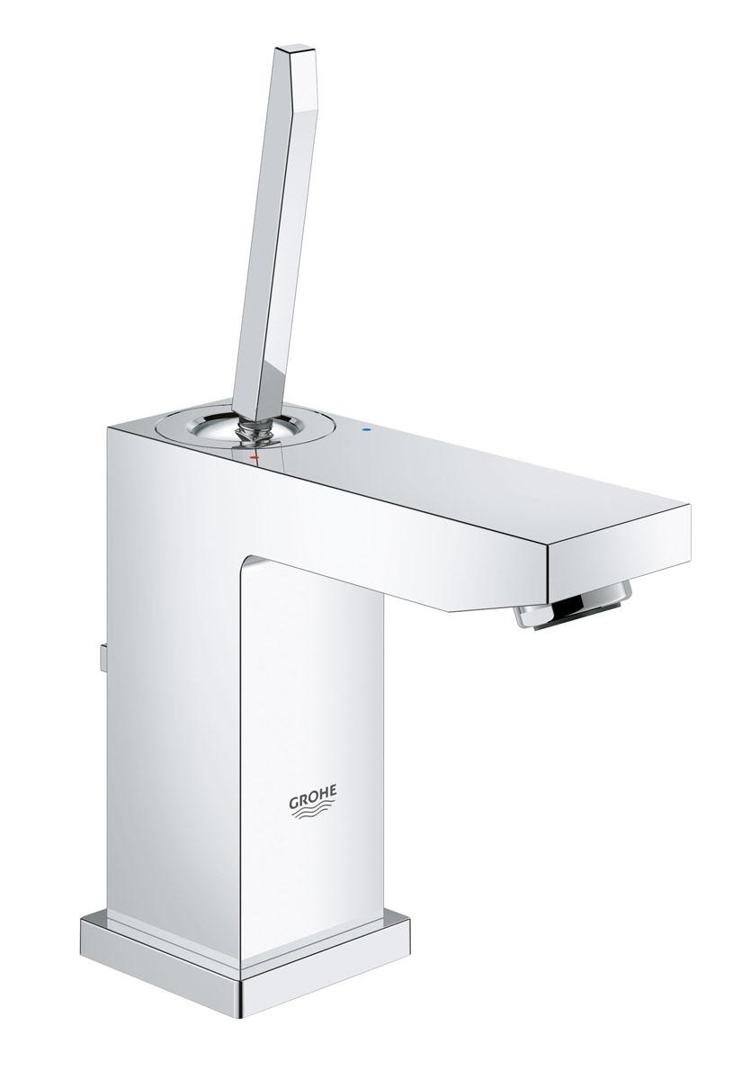 """Смеситель для раковины GROHE Eurocube Joy с донным клапаном, низкий излив (23654000)23654000Смеситель однорычажный для раковины DN 15 (S-Size) монтаж на одно отверстие металлический рычаг GROHE FeatherControl Joystick картридж GROHE StarLight хромированная поверхность GROHE EcoJoy SpeedClean аэратор с ограничением расхода воды 5.7 л/мин GROHE QuickFix Plus Монтажная система сливной гарнитур 1 1/4"""" гибкая подводка"""