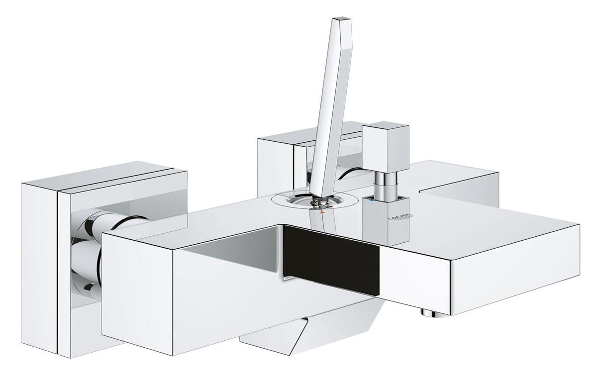 """Смеситель для ванны GROHE Eurocube Joy (23666000)23666000Смеситель однорычажный для ванны, DN 15 настенный монтаж металлический рычаг GROHE FeatherControl Joystick картридж GROHE StarLight хромированная поверхность аэратор встроенный обратный клапан в душевом отводе 1/2"""" скрытые S-образные эксцентрики с защитой от обратного потока"""