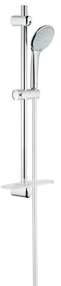 Душевой гарнитур Grohe Euphoria. 27242001BA900Душевой комплект Grohe воплощает в себе стильную простоту и комфорт в использовании. Комплект состоит из ручного душа, душевой штанги (600 мм) и шланга (1500 мм), изготовленных из высококачественной латуни. Хромированное покрытие StarLight придает изделию яркий металлический блеск и эстетичный внешний вид. Душевой комплект Grohe удобен и практичен в работе.Особенности:- превосходный поток воды;- система SpeedClean против известковых отложений;- внутренний охлаждающий канал для продолжительного срока службы;- twistfree против перекручивания шланга.