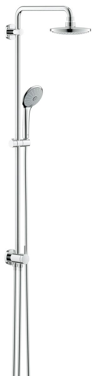 Душевая система с переключателем GROHE Euphoria, верхний и ручной душ, без смесителя (27297001)BA900включает в себя:горизонтальный поворотный душевой кронштейн 390 мм переключатель с верхнего на ручной душверхний душ Euphoria Cosmopolitan (27 492 000), с режимом Rainс шаровым шарниром, угол поворота ± 15°ручной душ Euphoria 110 Massage (27 239 000)регулируется по высоте с помощью скользящего элемента (12 140 000)9,5 л/мин ограничитель расхода водыдушевой шланг 1750 мм (28 388 000)минимальный расход воды 7л/минGROHE EcoJoy® Технология совершенного потока при уменьшенном расходе воды GROHE DreamSpray® превосходный поток водыGROHE StarLight® хромированная поверхность с системой SpeedClean против известковых отложенийВнутренний охлаждающий канал для продолжительного срока службысовместим с проточным водонагревателем от 18 kВ/ч