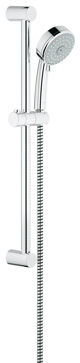 Душевой гарнитур Grohe Tempesta Cosmopolitan, с ограничением расхода воды27579001Душевой комплект Grohe воплощает в себе стильную простоту и комфорт в использовании. Комплект состоит из ручного душа, душевой штанги (600 мм) и шланга (1750 мм), изготовленных из высококачественной латуни. Хромированное покрытие StarLight придает изделию яркий металлический блеск и эстетичный внешний вид. Душевой комплект Grohe удобен и практичен в работе. Особенности: - превосходный поток воды; - система SpeedClean против известковых отложений; - внутренний охлаждающий канал для продолжительного срока службы; - технология совершенного потока при уменьшенном расходе воды; - может использоваться с проточным водонагревателем.