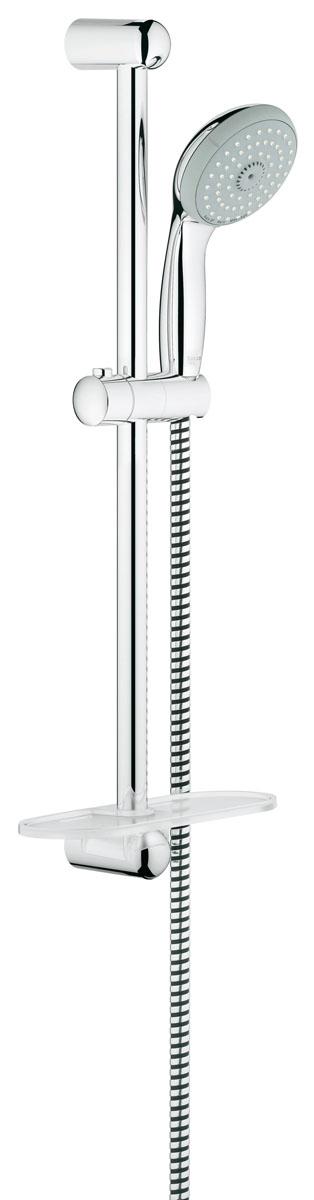 Душевой гарнитур Grohe Tempesta, с полочкой27600000Душевой комплект Grohe воплощает в себе стильную простоту и комфорт в использовании. Комплект состоит из ручного душа, душевой штанги (600 мм) и шланга (1750 мм), изготовленных из высококачественной латуни. Хромированное покрытие StarLight придает изделию яркий металлический блеск и эстетичный внешний вид. Душевой комплект Grohe удобен и практичен в работе. Особенности: - превосходный поток воды; - система SpeedClean против известковых отложений; - внутренний охлаждающий канал для продолжительного срока службы; - технология совершенного потока при уменьшенном расходе воды; - силиконовое кольцо, предотвращающее повреждение поверхности при падении ручного душа. Может использоваться с проточным водонагревателем.