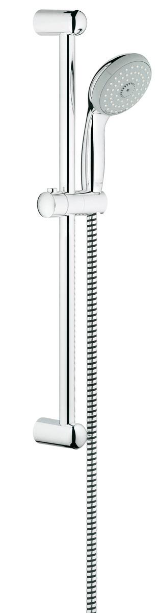 Душевой гарнитур Grohe Tempesta Classic. 2764400027644000Душевой комплект Grohe воплощает в себе стильную простоту и комфорт в использовании. Комплект состоит из ручного душа, душевой штанги (600 мм) и шланга (1750 мм), изготовленных из высококачественной латуни. Хромированное покрытие StarLight придает изделию яркий металлический блеск и эстетичный внешний вид. Душевой комплект Grohe удобен и практичен в работе. Особенности: - превосходный поток воды; - система SpeedClean против известковых отложений; - внутренний охлаждающий канал для продолжительного срока службы; - технология совершенного потока при уменьшенном расходе воды; - силиконовое кольцо, предотвращающее повреждение поверхности при падении ручного душа. Может использоваться с проточным водонагревателем.