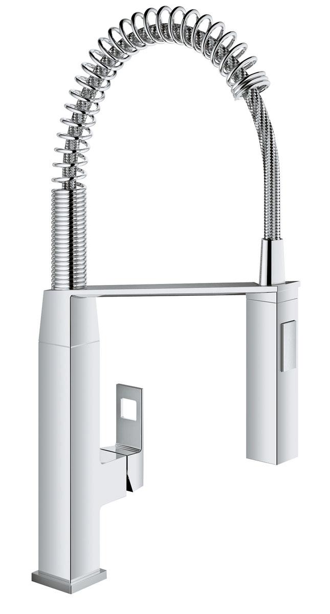 Смеситель для кухни Grohe EurocubeBA900Спроектированный в чистом, стильном дизайне, в соответствии с вашей современной кухней, смеситель Grohe Eurocube обладает всеми функциями, которые проницательные повара будут искать в кране: - профессиональный гибкий излив на пружине, с углом поворота излива 360° и возможность переключения между мощный душевым потоком и обычной струей одним нажатием кнопки, смеситель позволяет с легкостью заполнять и промывать кастрюли или мыть рабочую поверхность; - интегрированная технология SilkMove для керамических картриджей обеспечивает плавный и легкий контроль температуры воды и расхода. Выполненный в износостойком хромовом покрытии StarLight, он будет выглядеть безупречно в глянце даже после нескольких лет использования.