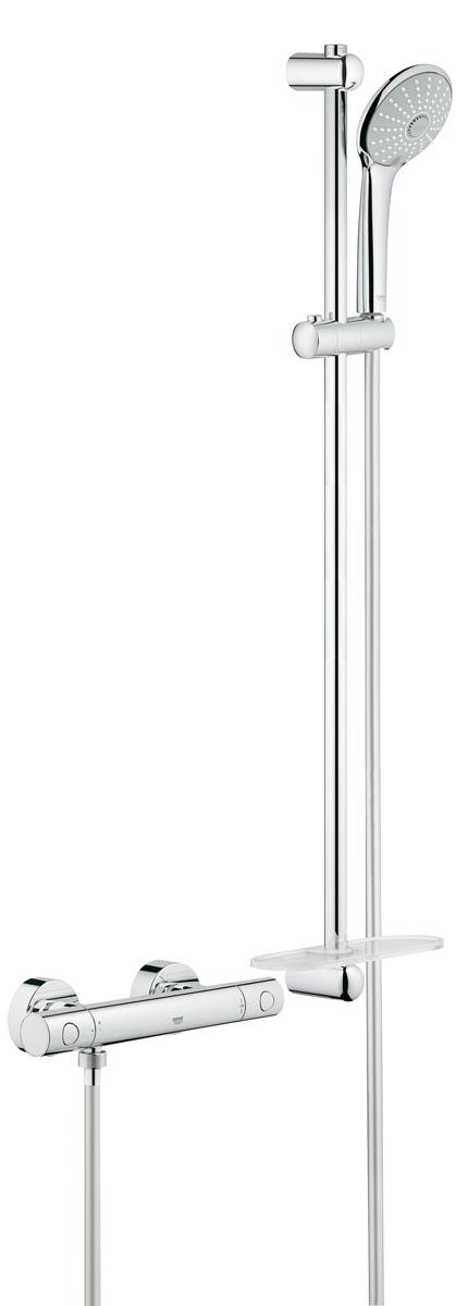 """Термостат для душа GROHE Grohtherm 1000 Cosmopolitan New с душевым гарнитуром (штанга 900 мм) (34321002)BA900с душевым гарнитуромвключает в себя:Grohtherm 1000 Cosmopolitan M Термостат для душа 1/2""""(34 065 002)Euphoria 110 Massage Душевой гарнитур, 900 мм (27 226 001)Внутренний охлаждающий канал для продолжительного срока службыGROHE DreamSpray® превосходный поток водыGROHE StarLight® хромированная поверхность GROHE SprayDimmerПолочка GROHE EasyReach™ (27 596 000)с системой SpeedClean против известковых отложенийTwistfree против перекручивания шлангаминимальное давление 1,0 бар"""