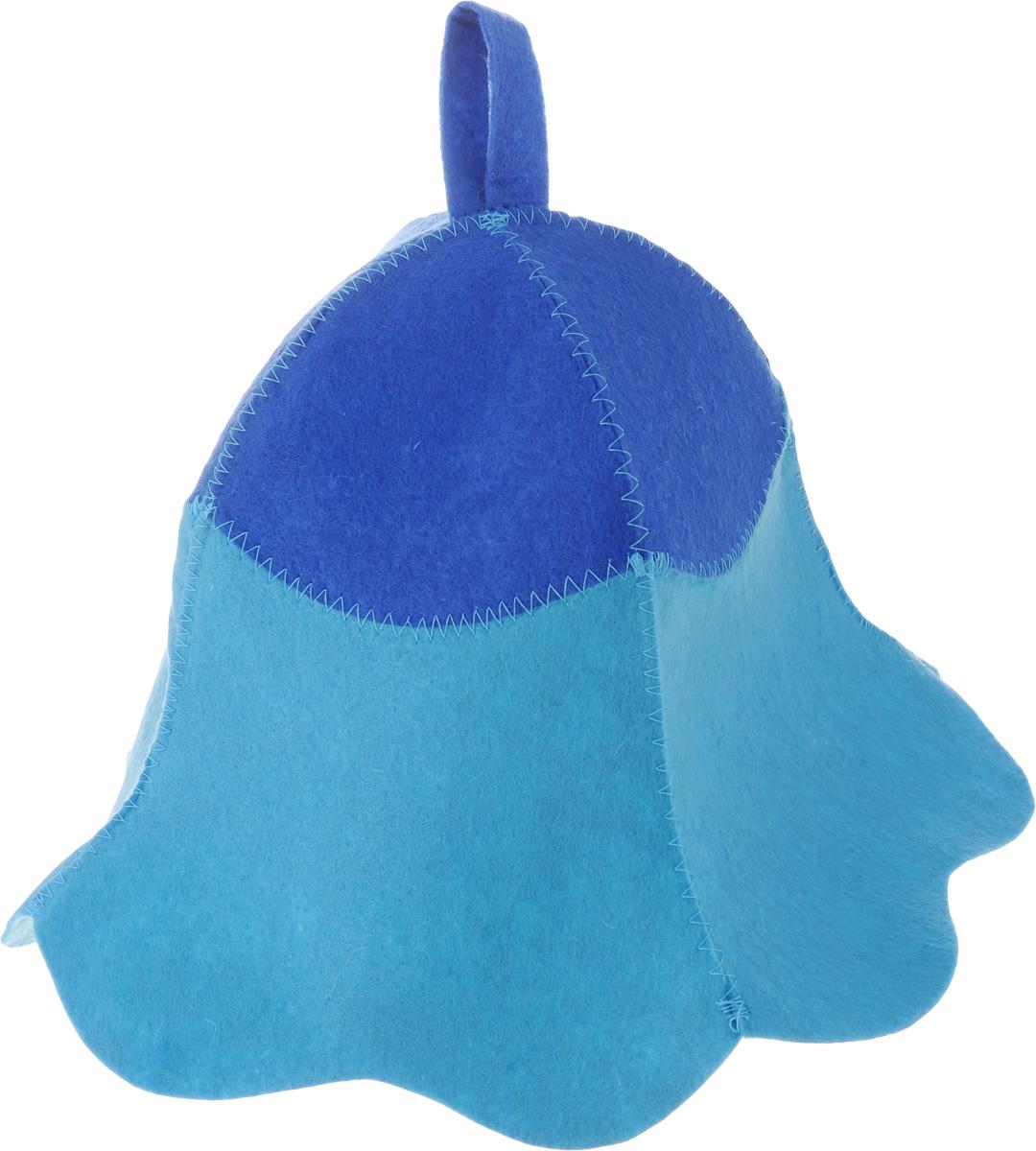 Шапка для бани и сауны Доктор баня Дюймовочка, цвет: голубой, синий905247_голубой с синимШапка для бани и сауны Доктор баня Дюймовочка изготовлена из фильца (100% полиэстер) - нетканого полотна. Это незаменимый аксессуар для любителей попариться в русской бане и для тех, кто предпочитает сухой жар финской бани. Необычный дизайн изделия поможет сделать ваш отдых более приятным и разнообразным. При правильном уходе шапка прослужит долгое время - достаточно просушивать ее, подвешивая за петельку. Диаметр шапки по нижнему краю: 37 см. Высота шапки: 25 см.