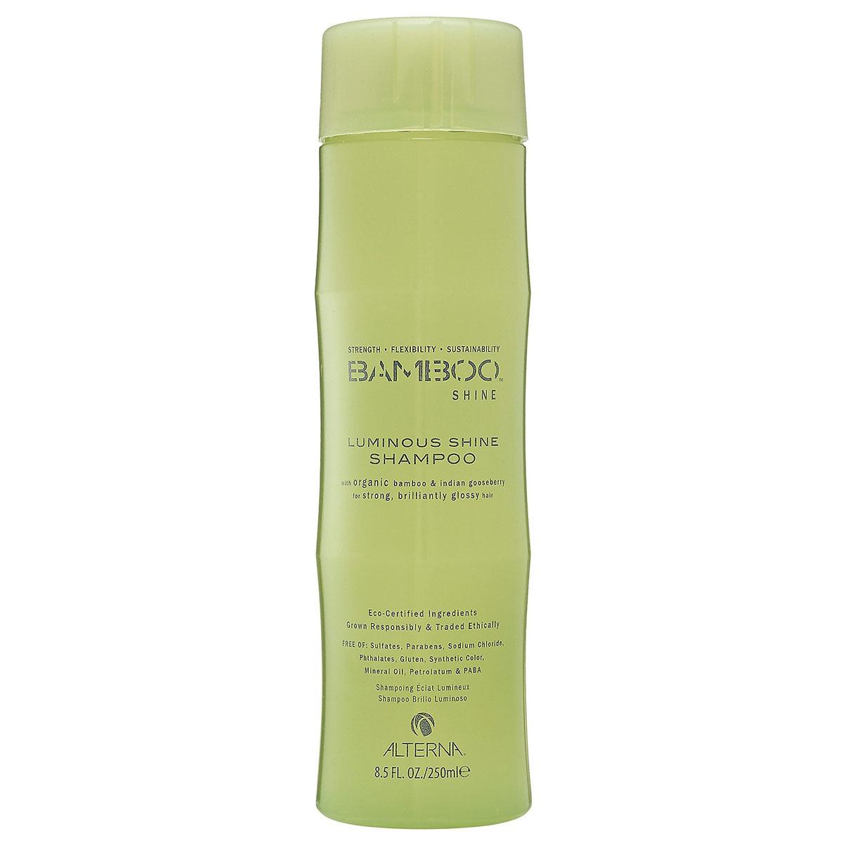Alterna Шампунь для сияния и блеска волос (безсульфатный) Bamboo Luminous Shine Shampoo - 250 мл101599Органическое масло индийского крыжовника и экстракт бамбука, входящие в состав шампуня Bamboo Luminous Shine Shampoo помогут оптимально увлажнить и укрепить волосы, делая их гладкими, сильными и шелковистыми. Технология Color Hold позволит окрашенным волосам дольше сохранять цвет, не вымывая его. Идеально подходит для светлых волос. Результат: очищает волосы без использования сульфатов. Оптимально увлажняет и укрепляет волосы. Сохраняет яркость цвета окрашенных и натуральных волос. Улучшает внешний вид волос. Разглаживает волосы, придает им гладкость и блеск.