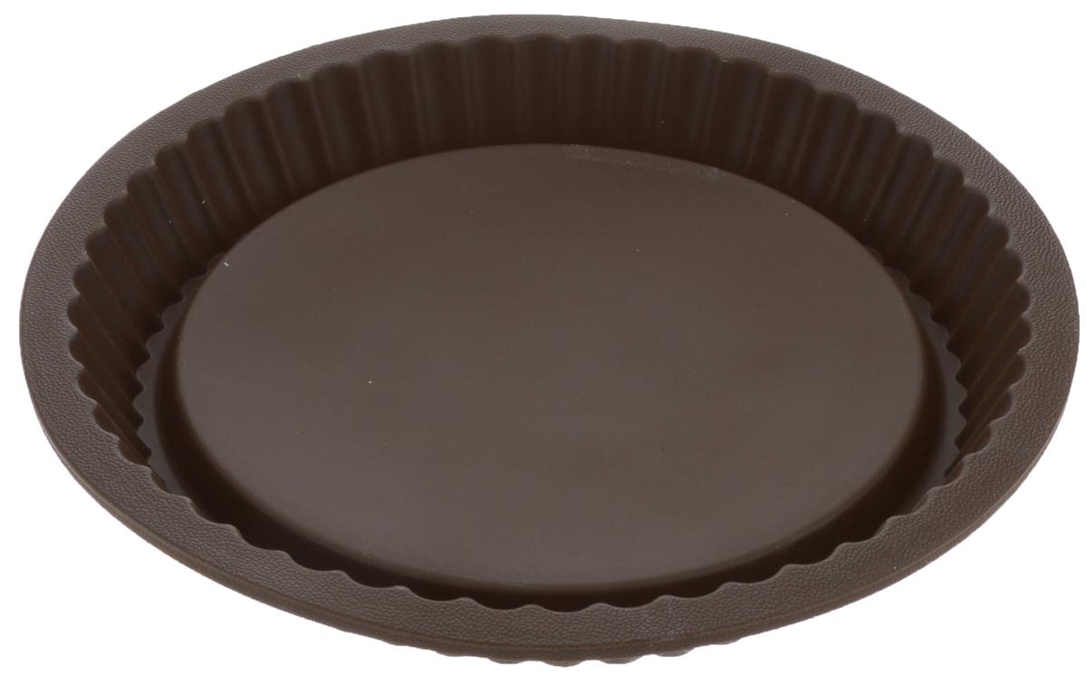 Форма для выпечки Tescoma Delicia, цвет: коричневый, диаметр 27 см. 629252300196Круглая форма с волнистым краем Tescoma Delicia выполнена из высококачественного силикона. Изделие отлично подходит для приготовления бисквитов, пирогов, сладких и соленых блюд. Изделие выдерживает температуру от -40°С до + 230°С. Форма подходит для использования в микроволновых, газовых и электрических печах. Можно мыть в посудомоечной машине. Диаметр формы: 24 см. Высота стенки: 3,5 см.