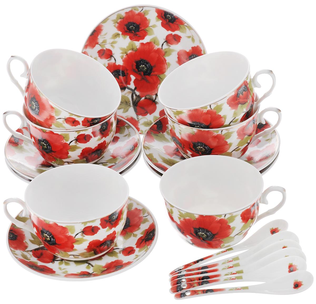 Набор чайный Elan Gallery Маки, с ложками, 18 предметов730479Чайный набор Elan Gallery Маки состоит из 6 чашек, 6 блюдец и 6 ложечек, изготовленных из высококачественной керамики. Предметы набора декорированы изображением цветов. Чайный набор Elan Gallery Маки украсит ваш кухонный стол, а также станет замечательным подарком друзьям и близким. Изделие упаковано в подарочную коробку с атласной подложкой. Не рекомендуется применять абразивные моющие средства. Не использовать в микроволновой печи. Объем чашки: 250 мл. Диаметр чашки по верхнему краю: 9,5 см. Высота чашки: 6 см. Диаметр блюдца: 14 см. Длина ложки: 12,5 см.