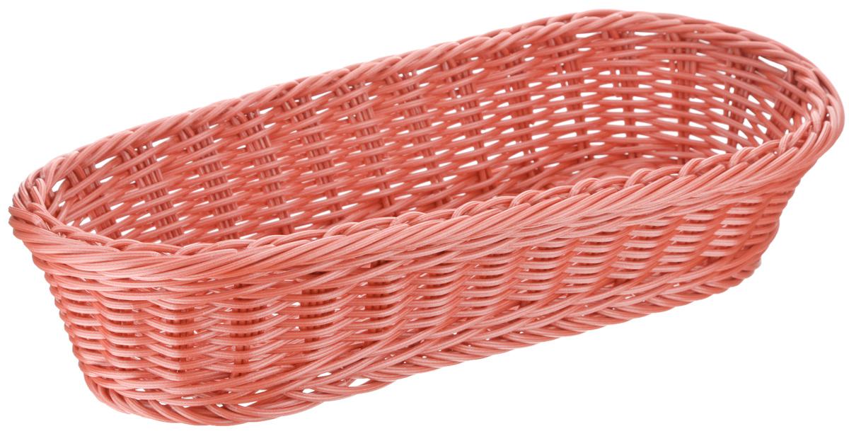 Корзинка Tescoma Flair, цвет: коралловый, 36 x 16,5 х 9 см665038Плетеная корзинка Tescoma Flair изготовлена из устойчивого к воздействию окружающей среды искусственного волокна. Идеально подходит для хранения выпечки, конфет, фруктов, косметики, рукоделия и оформления подарков. Она не требует тщательного ухода, не впитывает запахи, не боится воды и не разрушается от перепада температур. Корзинка Tescoma Flair отлично впишется в интерьер вашего дома. Можно мыть в посудомоечной машине.