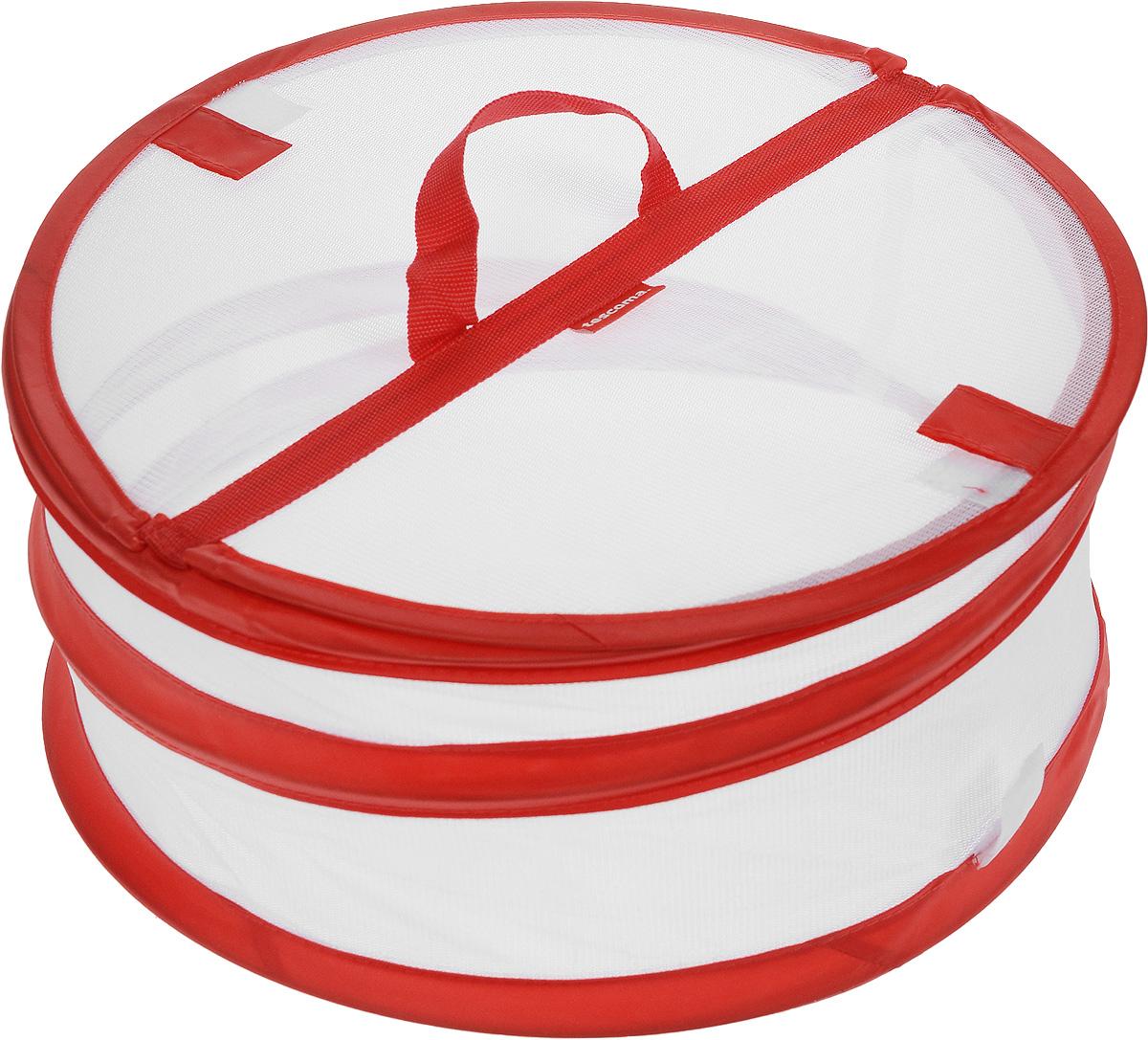 """Крышка для пищевых продуктов Tescoma """"Delicia"""", складная, цвет: белый, красный, диаметр 30 см 630850_красный"""