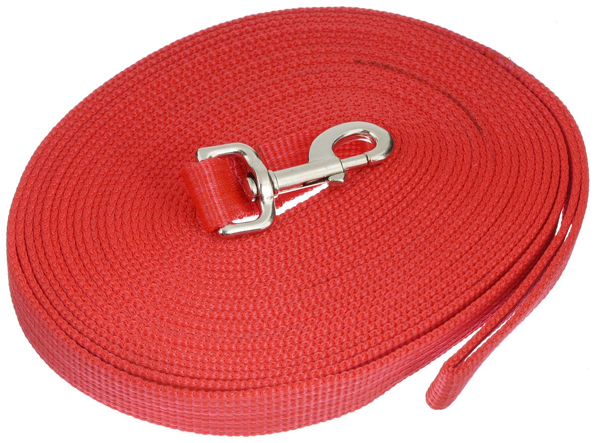 Поводок для собак Аркон, цвет: красный, ширина 2,5 см, длина 10 м0120710Поводок для собак Аркон изготовлен из высококачественного брезента. Карабин выполнен из легкого сверхпрочного сплава. Поводок - необходимый аксессуар для собаки. Ведь в опасных ситуациях именно он способен спасти жизнь вашему любимому питомцу. Иногда нужно ограничивать свободу своего четвероногого друга, чтобы защитить его или себя от неприятностей на прогулке. Длина поводка: 10 м.Ширина поводка: 2,5 см.Уважаемые клиенты! Обращаем ваше внимание на то, что товар может содержать светодиодную ленту.