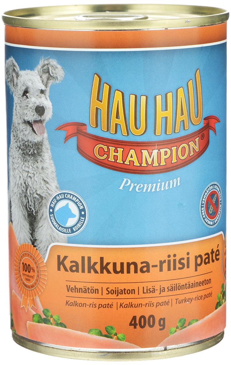 Консервы Hau-Hau Champion для собак, индейка с рисом, 400 г81192Консервы Hau-Hau Champion - это полноценный корм для собак любого возраста. Не содержит сои, пшеницы, пищевых добавок и красителей. Благодаря большому содержанию мяса продукт легко усваивается. Консервы можно давать собаке отдельно, так как они содержат все необходимые питательные вещества, или же смешивать с сухим кормом, чтобы сделать его еще более вкусным. Состав: мясо и продукты животного происхождения 95% (20% индюшатина), рис 4,1%, витамины и минералы. Питательная ценность: влажность 81%, белок 8,5%, масла и жиры 6%, пепел 2,5%, клетчатка 0,7%. Витамины и минералы: витамин А 3000 МЕ, витамин D3 300 МЕ, цинк 16 мг, железо 6,5 мг, медь 0,1 мг. Товар сертифицирован.