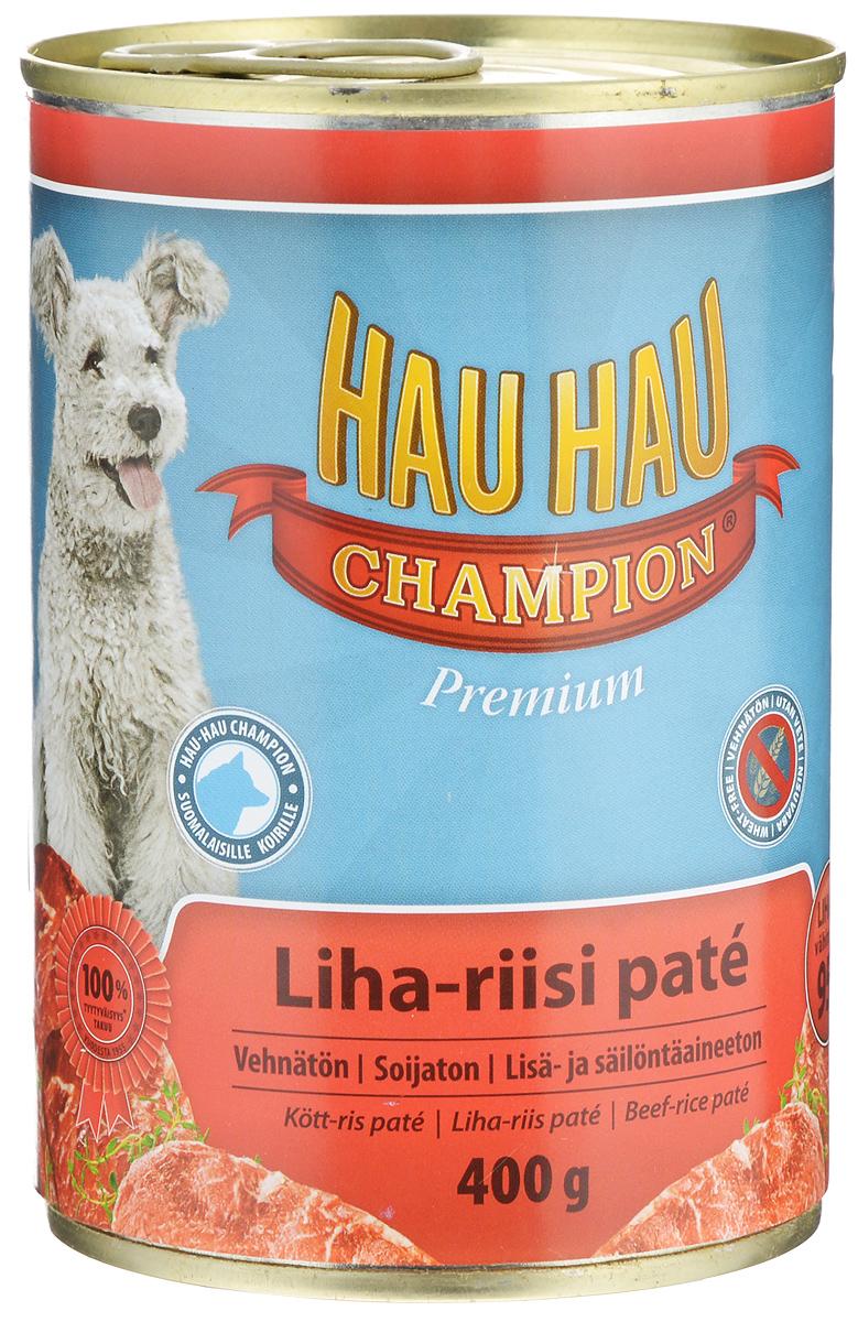 Консервы Hau-Hau Champion для собак, говядина с рисом, 400 г81193Консервы Hau-Hau Champion - это полноценный корм для собак любого возраста. Не содержит сои, пшеницы, пищевых добавок и красителей. Благодаря большому содержанию мяса продукт легко усваивается. Консервы можно давать собаке отдельно, так как они содержат все необходимые питательные вещества, или же смешивать с сухим кормом, чтобы сделать его еще более вкусным. Состав: мясо и продукты животного происхождения 95% (10% говядина), рис 4,1%, витамины и минералы. Питательная ценность: влажность 81%, белок 8,5%, масла и жиры 6%, пепел 2,5%, клетчатка 0,7%. Витамины и минералы: витамин А 3000 МЕ, витамин D3 300 МЕ, цинк 16 мг, железо 6,5 мг, медь 0,1 мг. Товар сертифицирован.