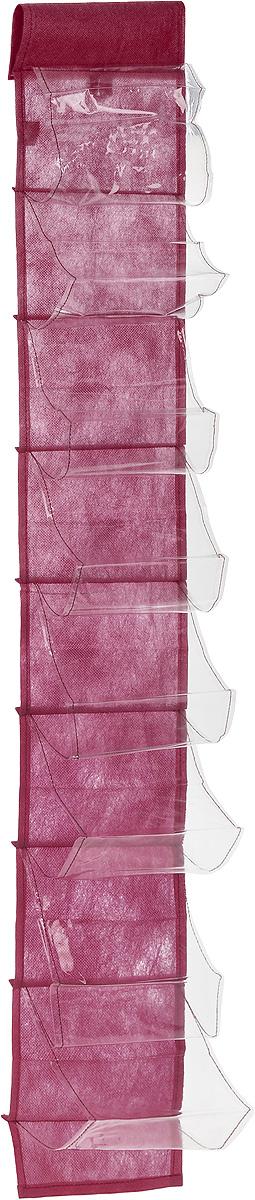 Чехол-карман для мелочей Eva, подвесной, цвет: бордовый, 120 х 16 смЕ41_бордовыйПодвесной чехол-карман Eva, выполненный из спанбонда и ПВХ, предназначен для хранения мелочей. Изделие оснащено 8 вместительными карманами. С помощью специальной петельки и липучек чехол можно разместить на стене, за дверью или в шкафу. Особая конструкция позволяет, при необходимости, одним движением сложить или разложить полку. . С таким чехлом-карманом вы сможете поддерживать порядок в доме и решить проблему хранения одежды, игрушек и разбросанных мелочей.. . Размер чехла: 120 х 16 см.. Количество карманов: 8 шт.