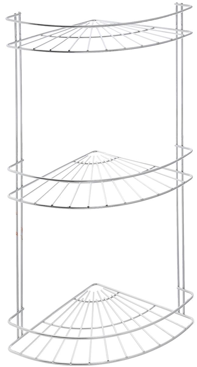 Полка подвесная Vanstore Slim, угловая, 3-ярусная, высота 48 см033-00Угловая подвесная полка Vanstore Slim, выполненная из стали, сэкономит место в ванной комнате. Полка подвешивается с помощью саморезов (входят в комплект). Изделие имеет 3 полки для хранения различных средств гигиены, которые всегда будут под рукой. Благодаря компактным размерам, полка впишется в интерьер вашего дома, а также позволит удобно и практично хранить предметы домашнего обихода. Размер яруса (ДхШхВ): 18 х 18 х 4 см. Общая высота полки: 48 см.