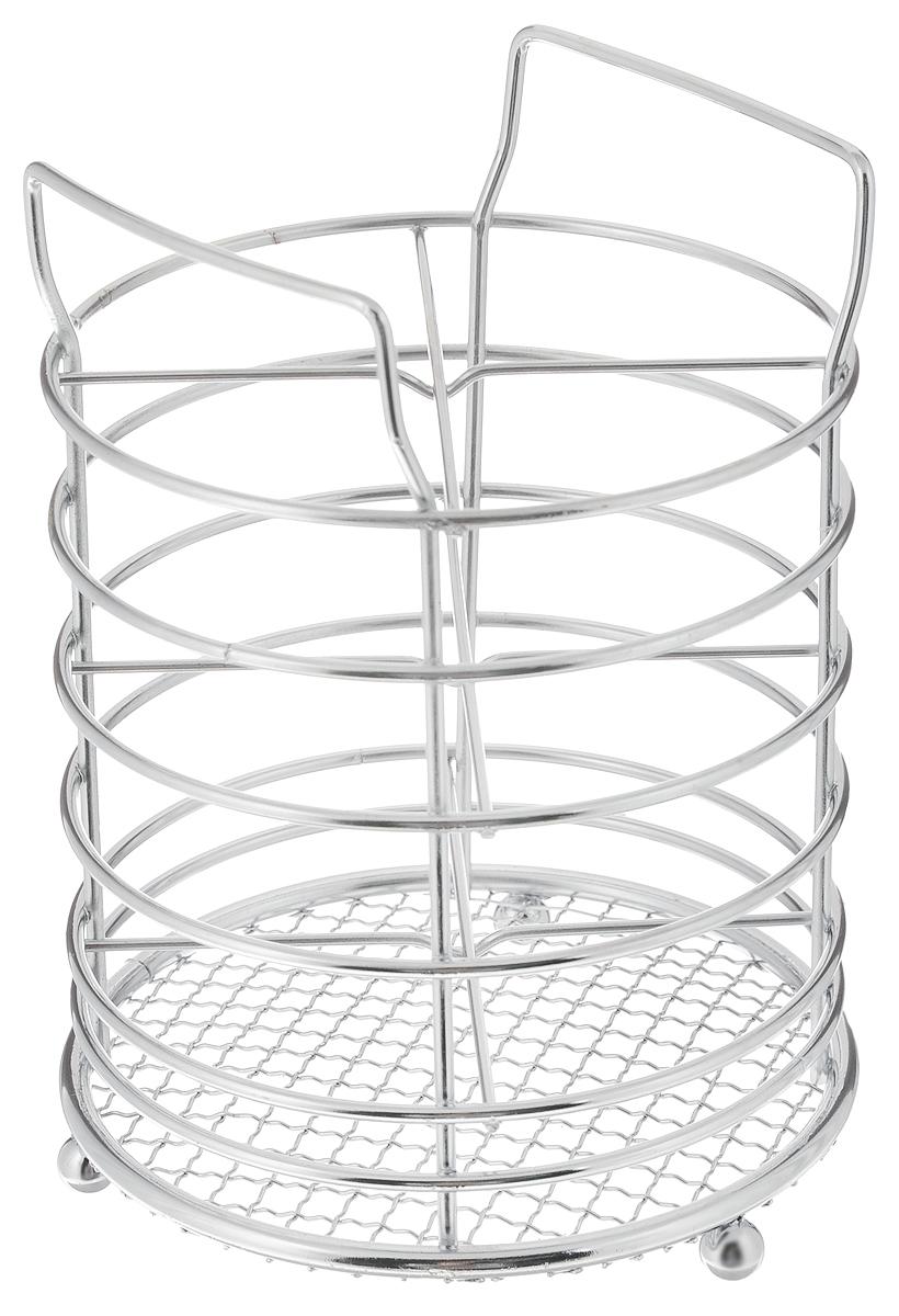 Подставка для столовых приборов Mayer & Boch, 11,5 х 11,5 х 16 см2966Подставка для столовых приборов Mayer & Boch представляет собой каркас из хромированного металла с сеткой в нижней части. Изделие стоит на трех шарообразных ножках. Подставка разделена на 4 секции. Она позволяет аккуратно хранить основные типы столовых приборов. Вы можете установить подставку в любом удобном месте. Такая подставка для столовых приборов станет полезным аксессуаром в домашнем быту и идеально впишется в интерьер современной кухни.