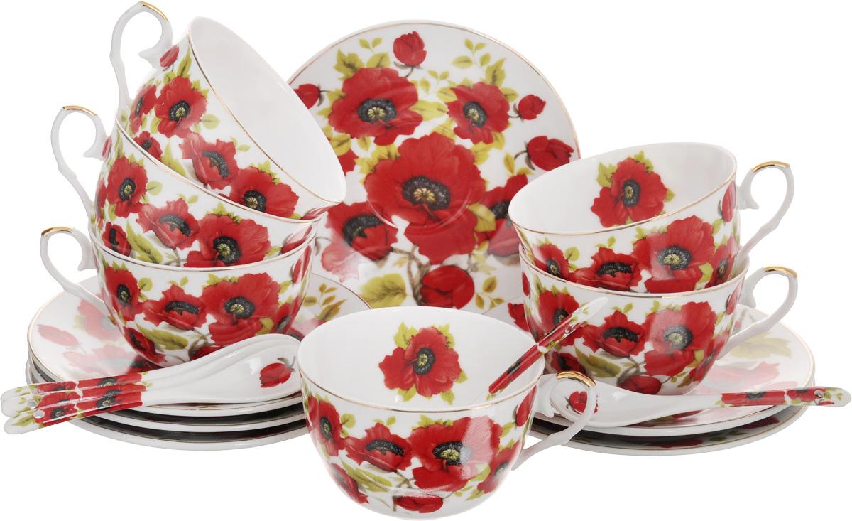 Набор чайный Elan Gallery Маки, с ложками, 18 предметов. 180789180789Чайный набор Elan Gallery Маки состоит из 6 чашек, 6 блюдец и 6 ложечек, изготовленных из высококачественной керамики. Предметы набора декорированы изображением цветов. Чайный набор Elan Gallery Маки украсит ваш кухонный стол, а также станет замечательным подарком друзьям и близким. Изделие упаковано в подарочную коробку с атласной подложкой. Не рекомендуется применять абразивные моющие средства. Не использовать в микроволновой печи. Объем чашки: 250 мл. Диаметр чашки по верхнему краю: 9,5 см. Высота чашки: 6 см. Диаметр блюдца: 15 см. Длина ложки: 12,5 см.