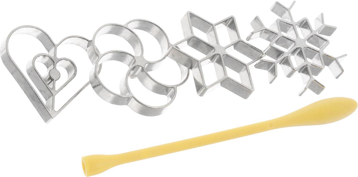 Набор форм для вафельного печенья Tescoma Delicia со съемной ручкой, 5 предметов630048Формы для вафельного печенья Tescoma Delicia выполнены из металла и предназначены для приготовления оригинальных жаренных сладких и соленых вафель из жидкого теста. Набор содержит 4 формочки в виде снежинки, звезды, сердца и цветка, а также универсальную съемную ручку из жаростойкого нейлона. Приготовление вафель: 1. Вставьте ручку в формочку. 2. Разогрейте масло в кастрюле до 180-200°С, нагрейте форму в течении минуты в масле, а потом дайте стечь излишкам масла с формы. 3. Опустите форму до верхнего края в тесто, а потом в горячее масло. 4. Вафля через некоторое время отпадет от формы. 5. Переверните вафлю и обжарьте до золотистого цвета. Совет по приготовлении: Если во время жарки вафля не отпадает от формы, то подвигайте формой вверх и вниз в масле, в случае необходимости достаньте вафлю подходящим предметом, например вилкой. Важно: В горячее масло опускайте только металлическую форму. Нейлоновую ручку не...