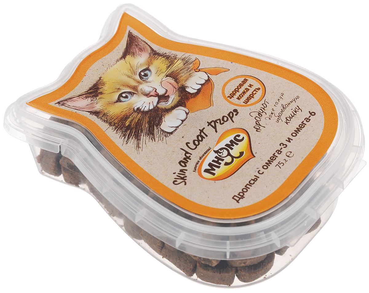 Лакомство для кошек Мнямс, дропсы с омега-3 и омега-6, здоровая кожа и шерсть, 75 г702020Лакомство для кошек Мнямс - дополнительное питание для кошек. Это здоровое угощение, которое придется по вкусу даже самому капризному любимцу. Входящие в состав омега-6 и омега-3 жирные кислоты необходимы для здоровья кожи питомца, благотворно влияют на красоту шерсти. Давать в виде дополнения к основному питанию, не более 20 кусочков в день (в зависимости от размера и активности кошки) и не более 5 кусочков за один прием. Подходит для котят с 3 месяцев. Свежая вода всегда должна быть доступна вашей кошке. Состав: злаки (пшеница), мясо и мясные субпродукты (курица 14%, печень 1%), масла и жиры (омега-3 и омега-6 жирные кислоты 1%), экстракты растительного белка, молоко и молочные продукты (молочная продукция 4%), продукты растительного происхождения, водоросли и дрожжи (1%). Анализ компонентов: белок 28,0%, жир 7,5%, клетчатка 1,0%, зола 7,5%, влажность 20%. Пищевые добавки/кг: витамин А 5000 МЕ, витамин D3 500 МЕ, витамин Е 250 мг, таурин 1000 мг....