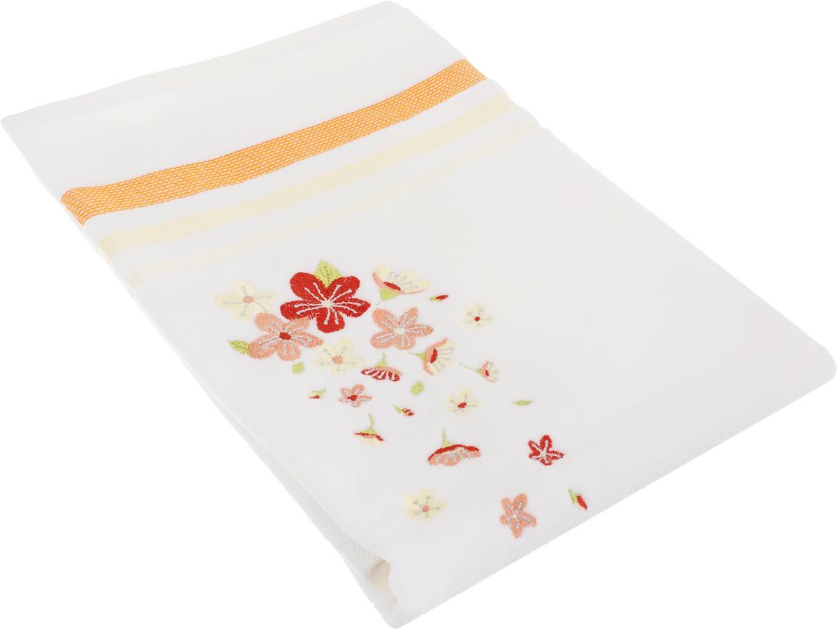 Полотенце махровое TAC Adelia, цвет: белый, оранжевый, 50 x 90 см68/5/2Махровое полотенце TAC Adelia выполнено из натуральной махровой ткани (100% хлопок). Изделие отлично впитывает влагу, быстро сохнет, сохраняет яркость цвета и не теряет форму даже после многократных стирок. Полотенце очень практично и неприхотливо в уходе. Такое полотенце прекрасно дополнит интерьер ванной комнаты.Рекомендации по уходу:- режим стирки при 40°C,- допускается деликатная сухая химчистка, - отбеливание запрещено,- глажка при температуре подошвы утюга до 200°С,- рекомендуется щадящий барабанный отжим.