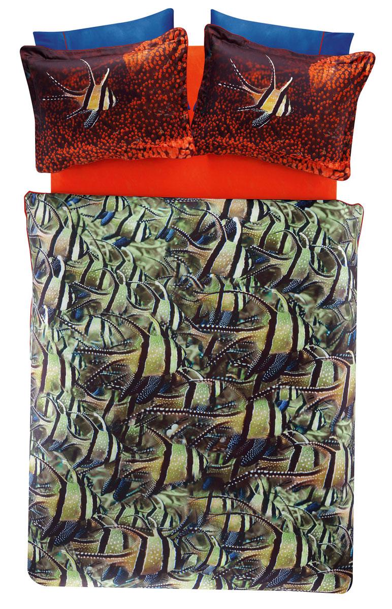 Комплект белья TAC Cobalt, 2-спальный, наволочки 50х70, цвет: зеленый, красный, коричневый3506Роскошный комплект постельного белья TAC Cobalt выполнен из качественного плотного сатина и украшен изображением красочных морских обитателей и разнообразных растений. Комплект состоит из пододеяльника, простыни и четырех наволочек. Пододеяльник застегивается на пуговицы. Сатин – гладкая и прочная ткань, которая своим блеском, легкостью и гладкостью похожа на шелк, но выгодно отличается от него в цене. Сатин практически не мнется, поэтому его можно не гладить. Ко всему прочему, он весьма практичен, так как хорошо переносит множественные стирки. Доверьте заботу о качестве вашего сна высококачественному натуральному материалу.