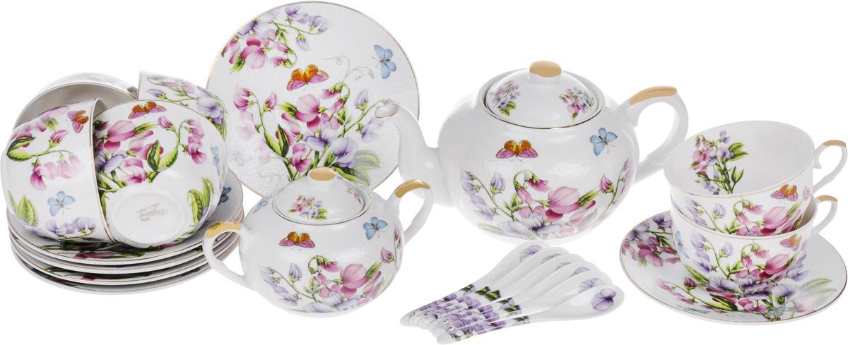 Набор чайный Elan Gallery Душистый цветок, 20 предметов180804Чайный набор Elan Gallery Душистый цветок состоит из 6 чашек, 6 блюдец, 6 ложек, заварного чайника и сахарницы. Изделия, выполненные из высококачественной керамики, имеют элегантный дизайн и классическую круглую форму. Такой набор прекрасно подойдет как для повседневного использования, так и для праздников. Чайный набор Elan Gallery Душистый цветок - это не только яркий и полезный подарок для родных и близких, но и великолепное дизайнерское решение для вашей кухни или столовой. Не рекомендуется использовать абразивные моющие средства. Не использовать в микроволновой печи. Объем чашки: 250 мл. Диаметр чашки (по верхнему краю): 9,5 см. Высота чашки: 6 см. Диаметр блюдца (по верхнему краю): 15 см. Высота блюдца: 2 см. Длина ложки: 12,5 см. Объем заварного чайника: 900 мл. Диаметр (по верхнему краю): 8,5 см. Высота чайника (без учета крышки): 10,5 см. Диаметр сахарницы (по верхнему краю): 6 см. ...