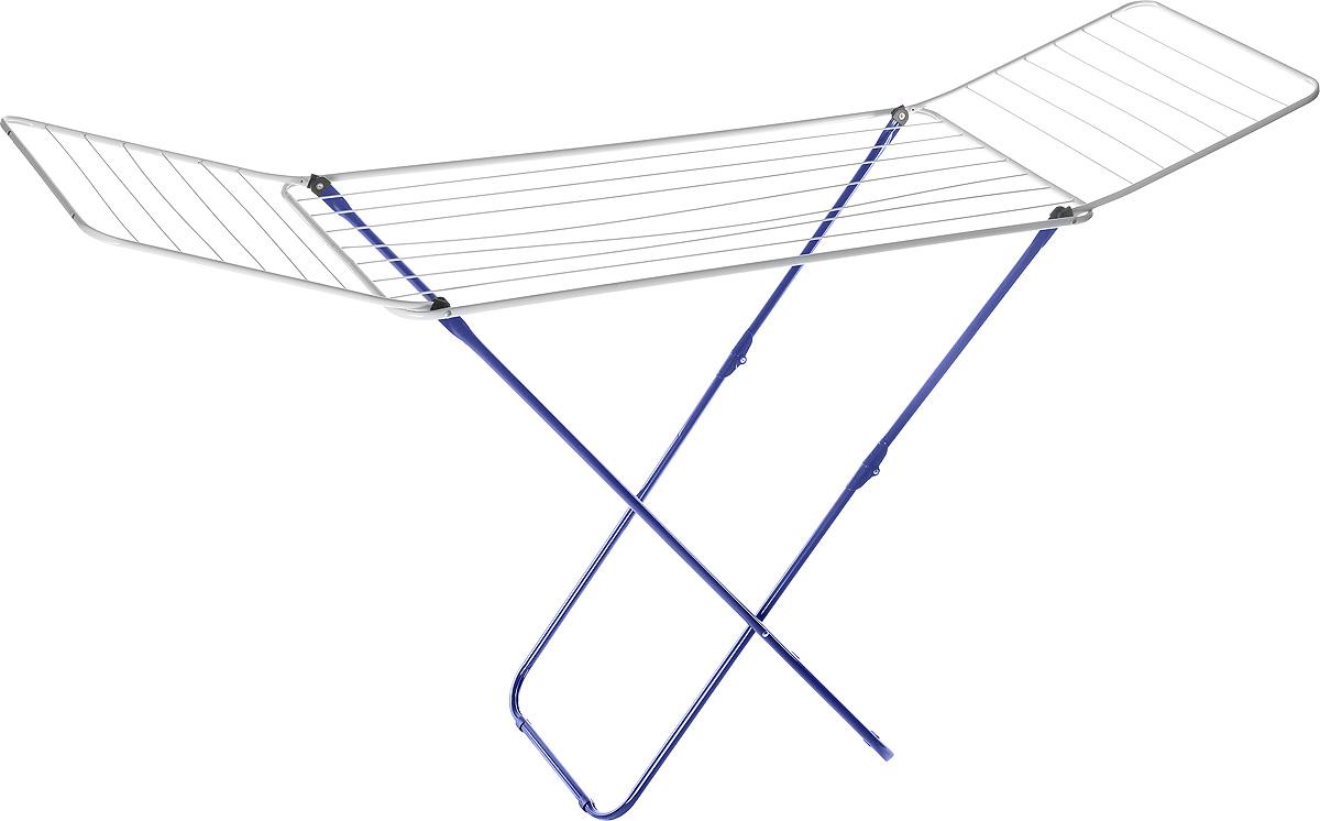 Сушилка для белья Mayer & Boch, цвет: синий, белый, 180 х 50 х 108 см9613_синийСушилка для белья Mayer & Boch, изготовленная из металла, проста и удобна в использовании. Идеально подходит для любых помещений. Также сушилка имеет распашные створки для более удобной сушки белья. Защитные пластиковые уголки на ножках предотвратят появление царапин на полу. Сушилка для белья легко складывается и в таком состоянии занимает мало места, потому вам легко будет убрать ее в любое удобное для вас место. Размер сушилки в разложенном виде: 180 х 50 х 108 см. Размер сушилки в сложенном виде: 50 х 5 х 125 см.